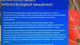 100% Uckermark – Landkreis erhalten, Selbstständigkeit erhalten!